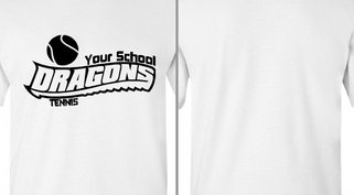 Dragons text tennis design idea