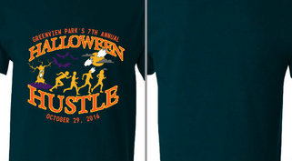 Halloween Hustle Tree Ghosts Runners Design Idea