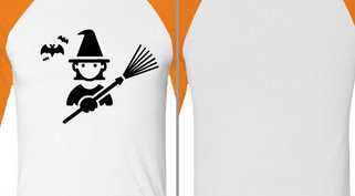 Witch with Broom Bats Design Idea