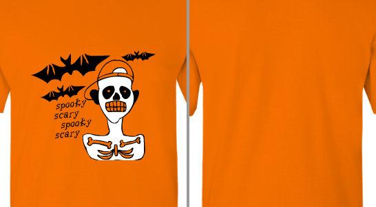 Spooky Scary Skeleton and Bats Design Idea