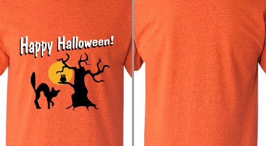 Happy Halloween Spooky Tree Cat Design Idea