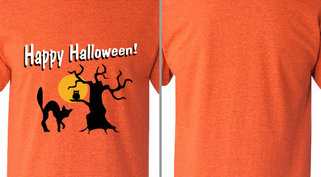 Happy Halloween Spooky Tree Cat Design Idea