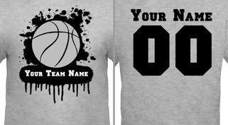 Gray Paint Splat Basketball T-shirt Design Idea