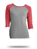 Custom Athletic Jerseys : DM136L District Made Ladies Tri-Blend Baseball Raglan